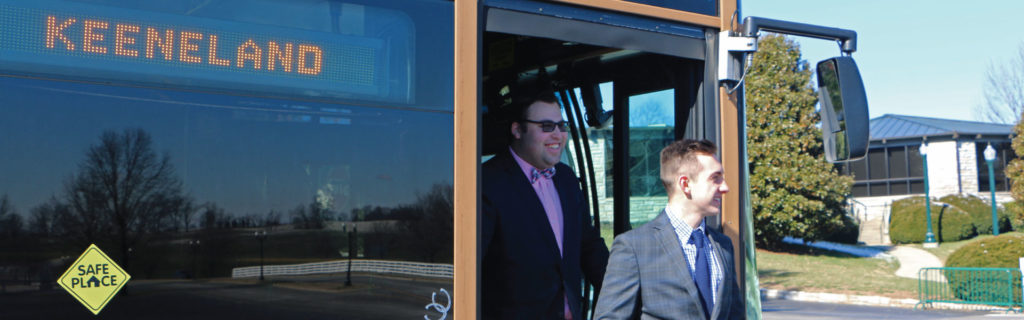 Riders exiting Keeneland shuttle