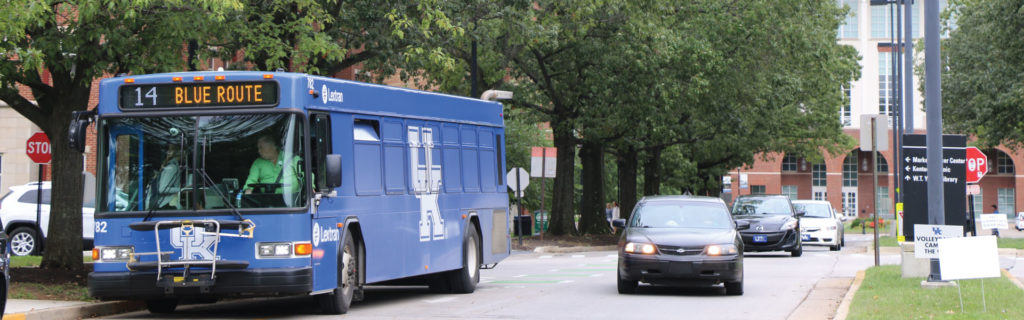 Route 14 bus on campus